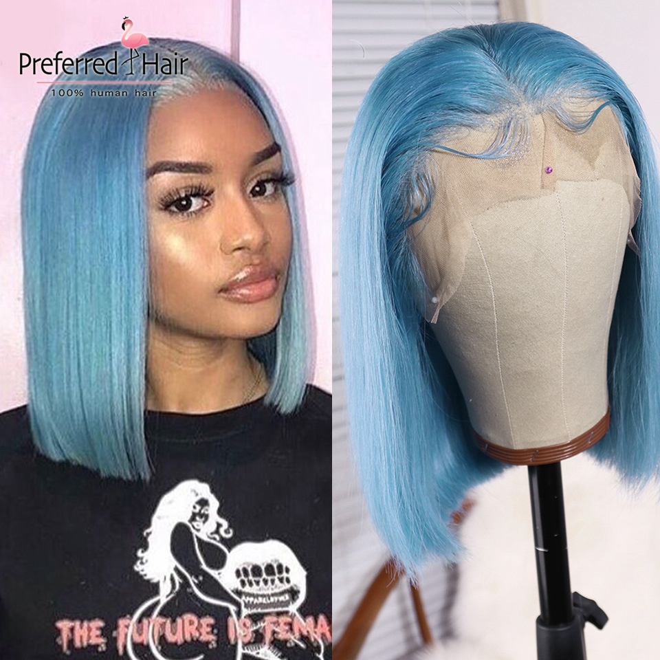 Preferred Light Blue Human Hair Wig Brazilian Remy Hair 613 Lace Front Wig Pre Plucked Purple Short Bob Wigs For Black Women image