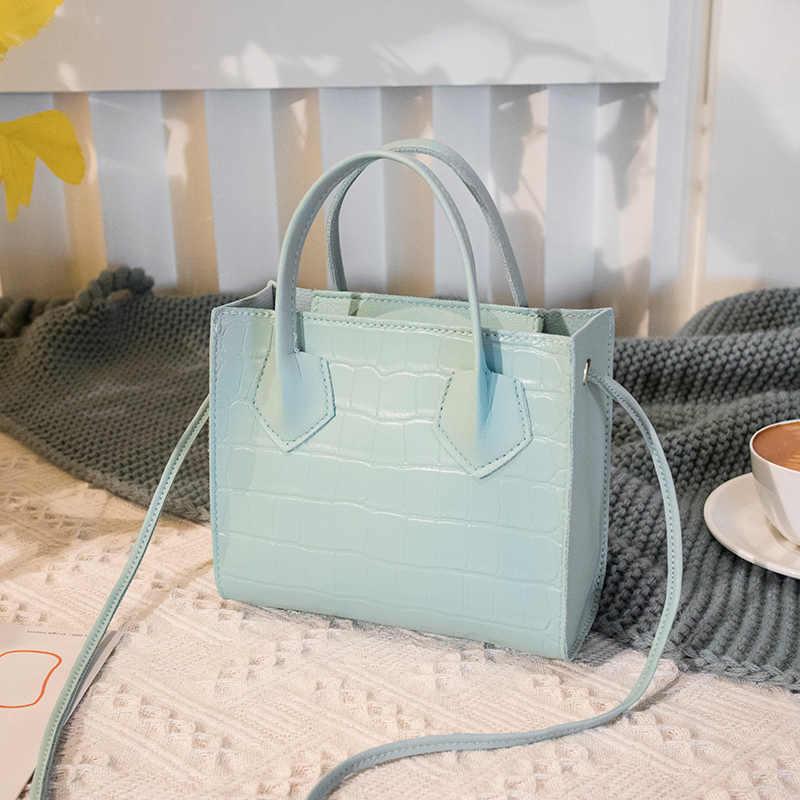 2020 Tren Fashion Wanita Buaya Pola Crossbody Handbags Vintage Klasik Padat Gaya Tas Bahu Gaya Tote untuk Wanita