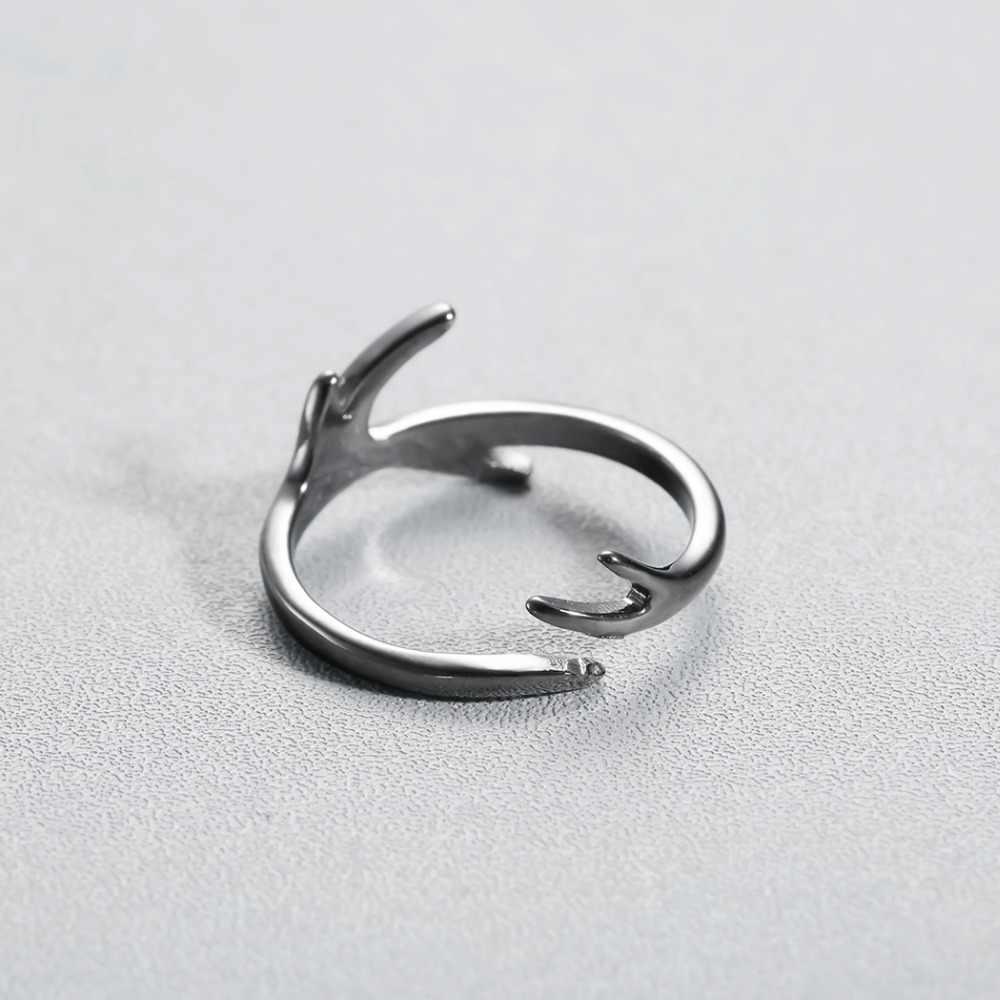 Black Tree สาขาใบเปิด Knuckle Finger แหวนผู้หญิงหมั้น Antlers แหวน Bague Femme Dropshipping
