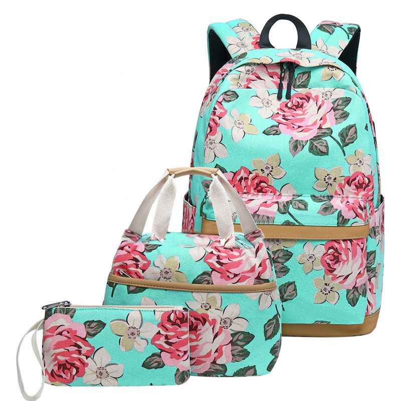 Large Capacity 3 Pcs School Bags for Teenager Girls Canvas Floral Women Backpack Casual Student Outdoor Travel Computer Bag Set