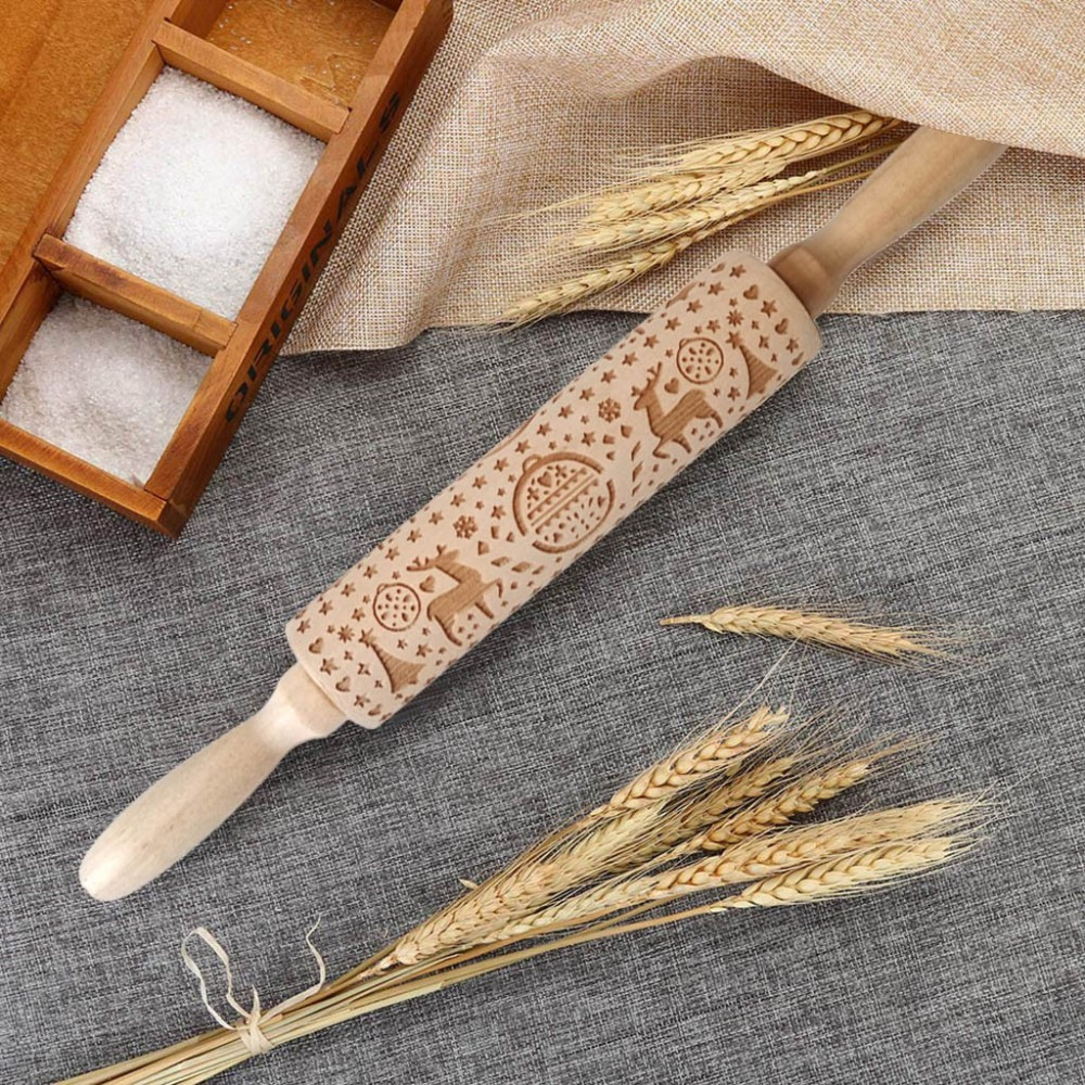 Textured Non-Stick Designs Wooden Embossed Rolling Pin for Cookies/Biscuit/Fondant Cake 13