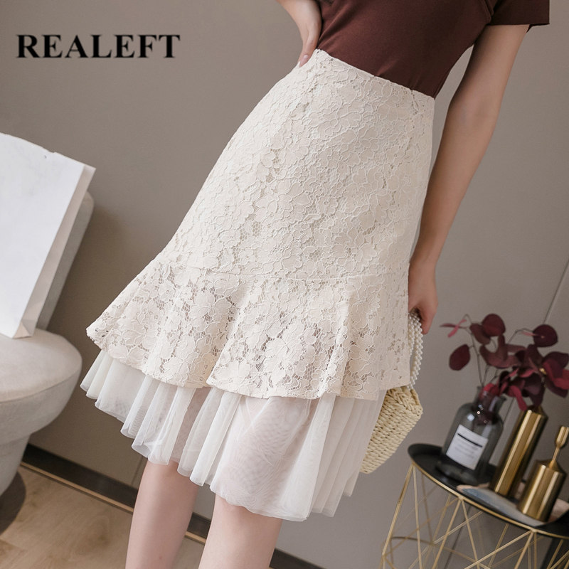 REALEFT Spring Summer 2020 New Women's Lace Mesh Patchwork Midi Wrap Skirts Korean OL Style High Waist A-Line Skirts Ladies