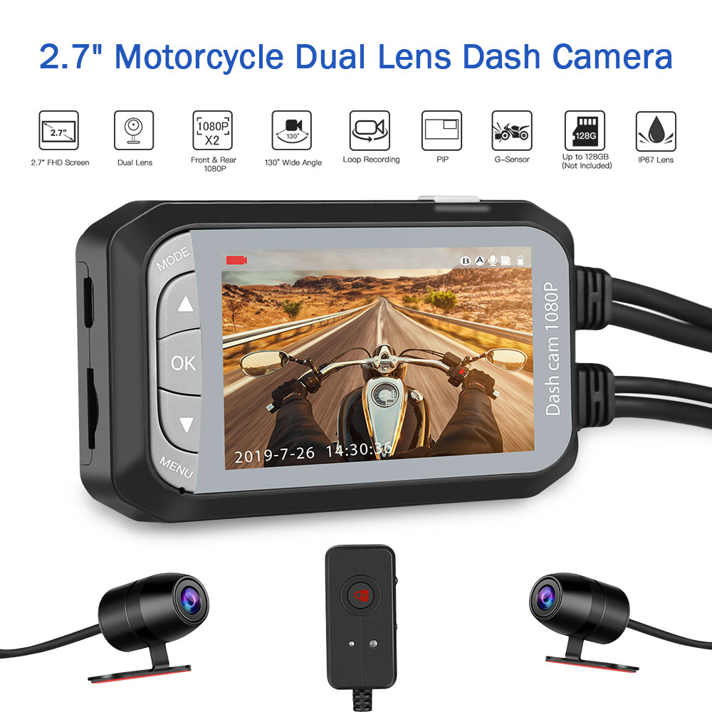 Waterproof Dual Motorbike Action Camera Recorder DVR HD 1080P Front And Rear View Motor Electronics Motorcycle Dash Cam