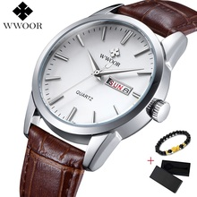Luxury Watch Men Day Date Leather Sport Watches Male Casual Quartz Mens Wristwatches WWOOR Clock Free Box 2019