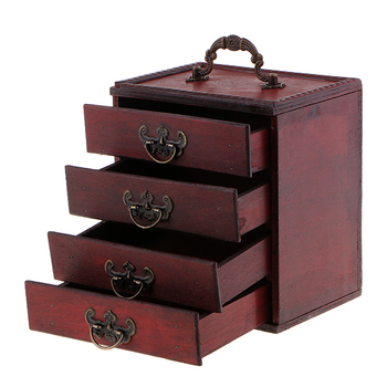 Decorative Trinket Jewelry Storage Box Vintage Wood Chest Treasure Case Box 15x10x16