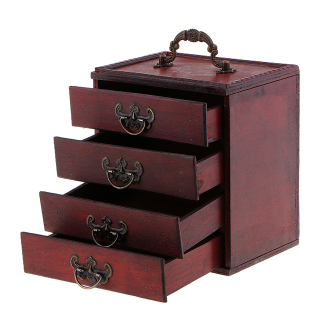 Decorative Trinket Jewelry Storage Box Vintage Wood Chest Treasure Case Box 15x10x16 5cm