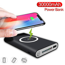 Carregador sem fio power bank 30000 mah para o telefone inteligente carregador rápido portátil powerbank carregador do telefone móvel para iphone samsung(China)