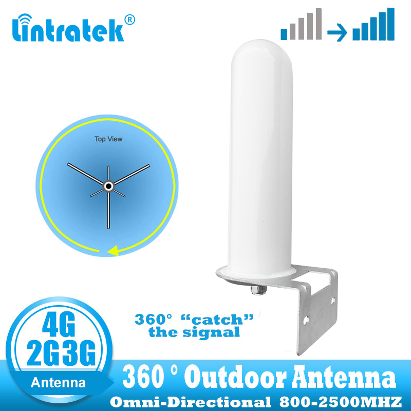 Lintratek 2G 3G 4G Omnidirectional Outdoor Antenna 360° Catch Signal For Cellular Cell Phone Signal Booster  GSM  LTE WCDMA