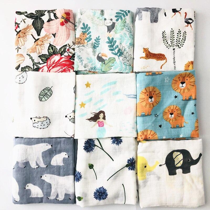 Детское бамбуковое одеяло из органического хлопка для новорожденных, муслиновое Пеленальное полотенце для кормления