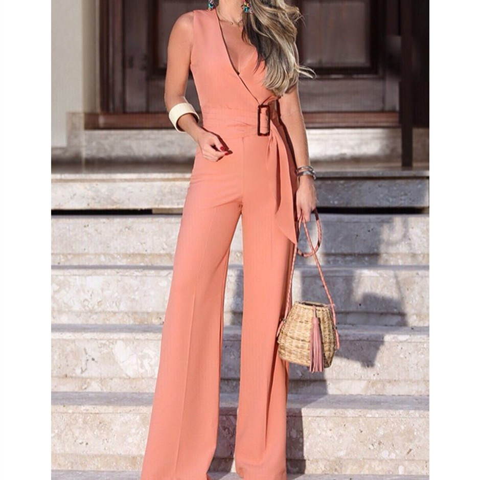 Fashion Deep V-Neck Office Jumpsuits Women Sleeveless Belted Wear Wide Leg Overalls Sashes High Waist Solid Rompers