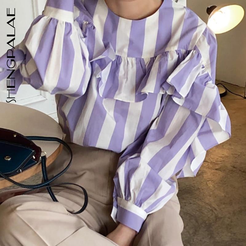 SHENGPALAE New Autumn 2019 Korea Style Striped Round-neck Full Lantern Sleeve With Ruffles Patchwork Women Loose Shirt FS360