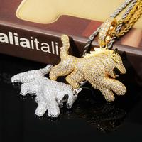 GUCY Iced Out Cubic Zircon Bling Animal Necklace & Pendant Men Women Hip Hop Rock Jewelry CZ Necklace For Gifts