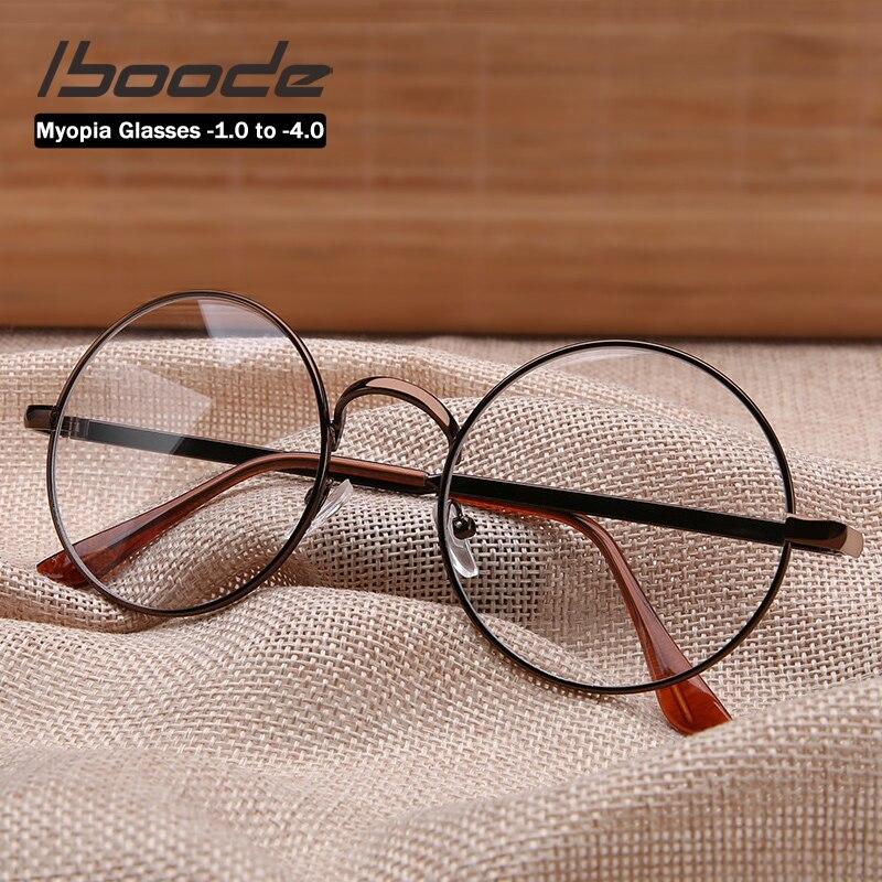 Iboode классические ретро круглые очки для близорукости для женщин с диоптрией 1,0 до 4,0 винтажная металлическая оправа близорукие очки для девочек Мужские очки кадры      АлиЭкспресс