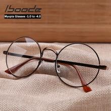 Iboode Klasik Retro Yuvarlak Miyopi Gözlük Kadınlar Diyoptri-1.0 to-4.0 Vintage Metal Çerçeve Miyop Miyop Gözlük kız