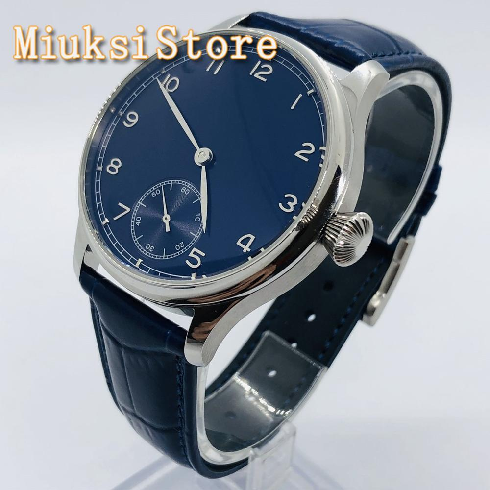 Corgeut 44mm Sterile Men's Watch Silver Case Blue Dial Blue Leather Strap 17 Jewels 6498 Hand Winding Movement Men's Watch