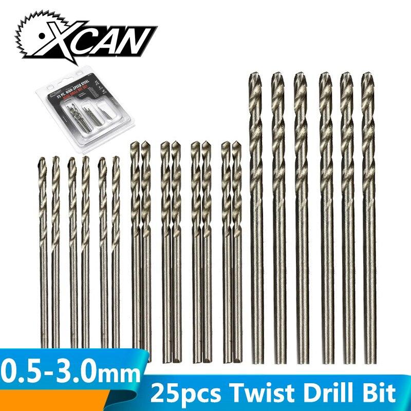 XCAN 25pcs Twist Drill Bit Set HSS Mini Micro Gun Drill Bit Wood Metal Hole Drilling Straight Shank Twist Drill Bit 0.5-3.0mm