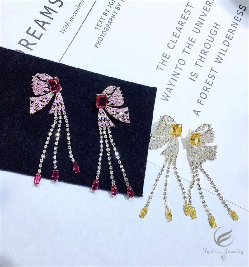 2020 New Fashion Luxury Butterfly Rinestone Zircon Long Tassel Earrings