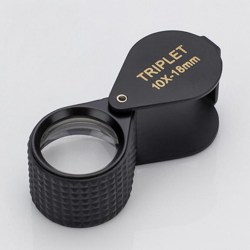 10Times 18mm Foldable Jadeite Filter Super Triplet Lens Magnifier Jewelry Gem Identifying Type Inspecting Magnifying Glass Loupe