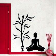 Creative Buddha Bamboo Wall Sticker Home Decor Waterproof Wall Decals For Room Sticker Mural WL2023 недорого