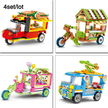 4sets/lot City Street Toy mobile store,Sushi,Hamburger food stall legoingly Mini View Building Block Kids Toys Gift