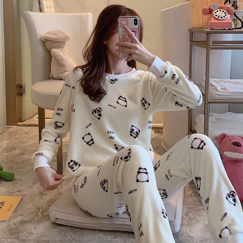 Hot Selling Pajamas Women's Winter Coral Velvet Thick Plus Velvet Love Korean-style Flannel Homewear Set