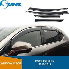 Rüzgar siperliği Deflector yağmur muhafızları için LEXUS NX 2015 2016 2017 2018 2019 duman PC pencere kalkanları güneş yağmur saptırıcı muhafızları SUNZ