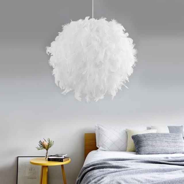 Mordern Feather Pendant Lamp E27 Lamp Holder Fairy Hanging Lamp Goose Feather Bedroom Dining Room Loft Chandelier Ceiling Light|Pendant Lights|   -