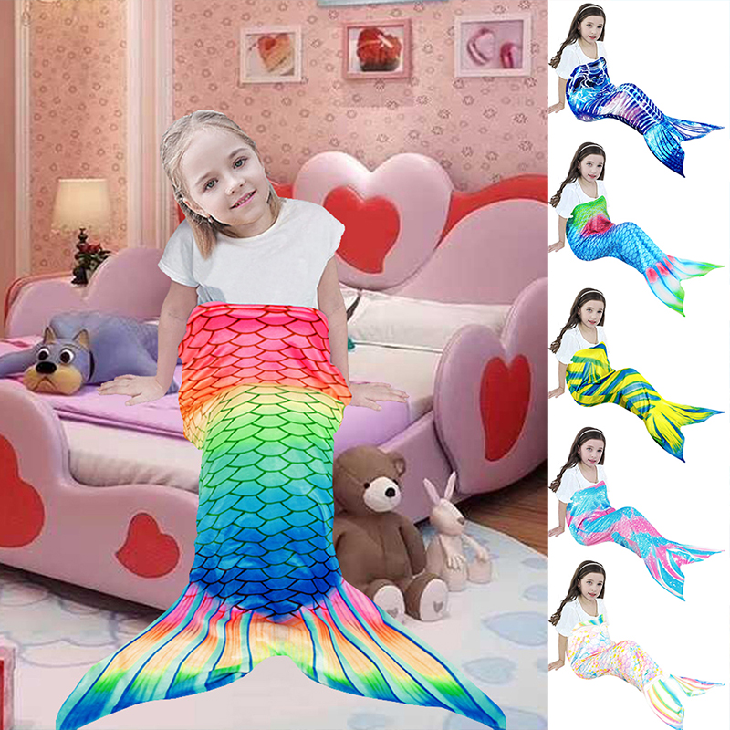 Colorful Fish Scale Mermaid Blanket For TV Mermaid Tail Throw Blanket For Kid Baby Soft Sofa Wearable Warm Plaid Flannel Blanket-0