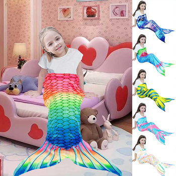 Colorful Fish Scale Mermaid Blanket For TV Mermaid Tail Throw Blanket For Kid Baby Soft Sofa Wearable Warm Plaid Flannel Blanket