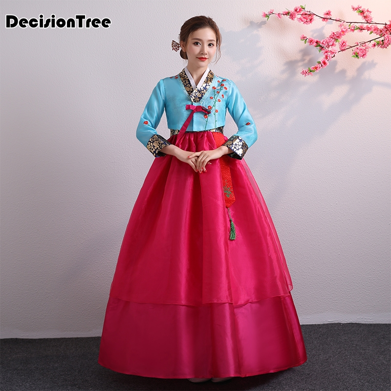 2019 Cotton Silk Full Sleeve Japanese Kimono Yukata Embroidery Korean Traditional Dress Women Hanbok Costume Hanbok Dress