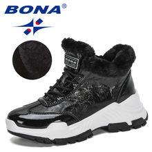 Женские Теплые Ботинки bona черные плюшевые ботинки с высоким