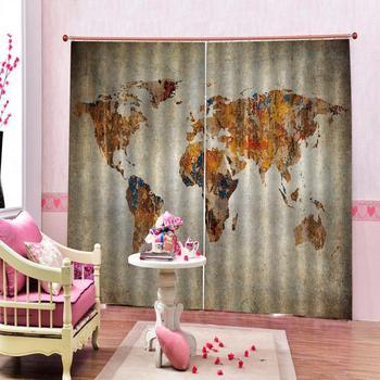 Custom curtains Vintage world map European Curtains Photo Painted 3D Curtain Living room