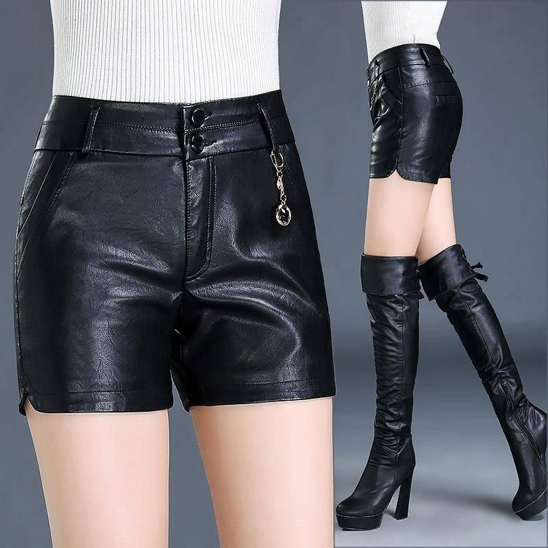 >lady's casual sexy Large size casual slim Waterproof breathable soft wear resistant PU <font><b>short</b></font> <font><b>leather</b></font> <font><b>pants</b></font>