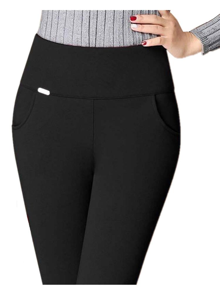 LPOWSS Sexy High Waist Skinny Black Leggings Women Solid Plus Size Pencil Pants Stretch Skinny Thin Korean Small leg Trousers
