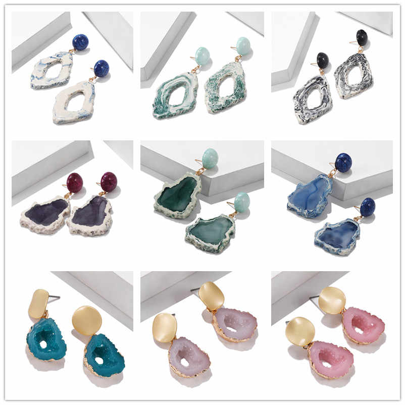Fashion Earrings For Women 2019 Statement Geometric Acrylic Colorful Classic Female Earrings Jewelry Accessories