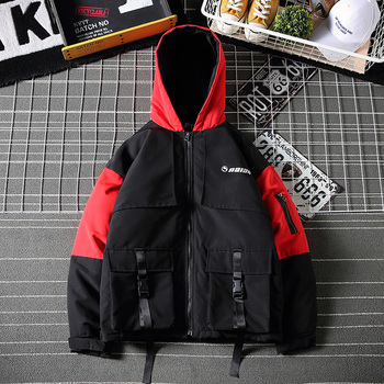 Winter New Short Coat Men Warm Thick Fashion Parka Men Cross Color Casual Hooded Coat Man Wild Loose Cotton Tooling Jacket Male фото