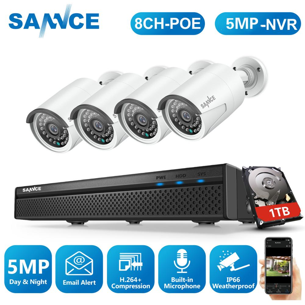 SANNCE 8CH 5MP FHD POE Video Security System H.264+ 5MP With 4X 5MP Outdoor Weatherproof IP Camera CCTV Kit Built-in Microphone