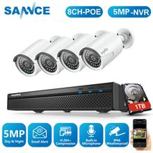 SANNCE 8CH 5MP FHD POE Video Security System H.265 5MP With 4X 5MP Outdoor Weatherproof IP Cameras Built-in Microphone CCTV Kit