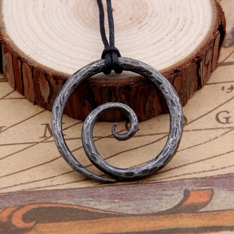 Hand-Forged Iron with Adjustable Leather Neck Cord Dark Details about  /Viking Spiral Pendant
