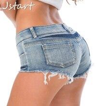Women Sexy Short Jeans Booty Shorts Denim Low Waist Summer Casual Club Party Blue Bottom