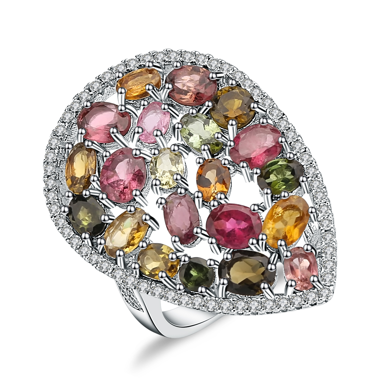Gem's Ballet 925 Sterling Silver Ring 5.21Ct Colorful Natural Tourmaline Gemstone Cocktail Rings For Women Fine Jewelry