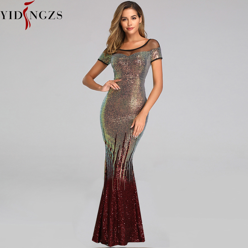 YIDINGZS Elegant Backless Long Evening Dresses Simple Black Sequins Evening Party Dress YD100 4