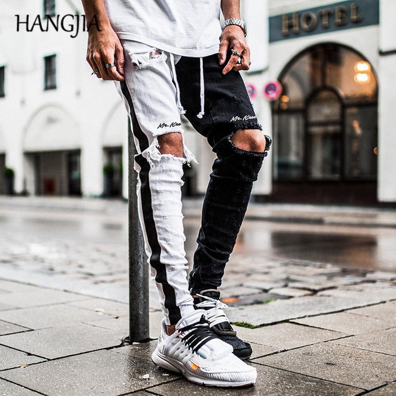 Black White Colorblock Slim Fit Jean Men Hip Hop Knee Hole Washed Destroyed Jean Streetwear Ankle Zip Up Pencil Denim Pants Male