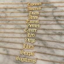 Mode zodiaque Alphabet collier créativité filles européennes douze Constellation alliage anglais lettre colliers bijoux pour femmes