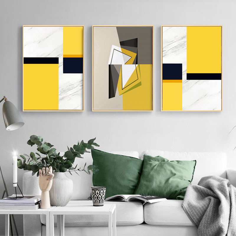 3 plošče Sodobna stenska umetnost Abstraktne akvarele odtise Rumena - Dekor za dom - Fotografija 1