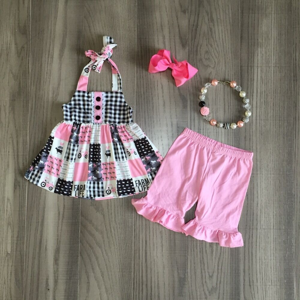 Baby Girls Summer Farm Outfits Girls Plaid Top Solid Pink Pants Girls Truck Outfits With Accessories
