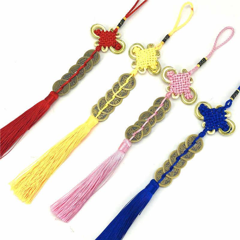 Pièces de monnaie en cuivre pendentif noeud chinois caractéristiques de style chinois cadeau noeud chinois cinq empereurs argent fil de cuivre pendentif