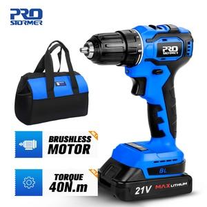 21V Brushless Electric Drill 40NM Cordless Screwdriver 2000mAh Battery Mini Electric Power Screwdriver Drill 5pcs Bit PROSTORMER