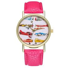 Fashion Children Quartz Watch Girl Rose Red Leather Strap Cartoon Airplane Golde