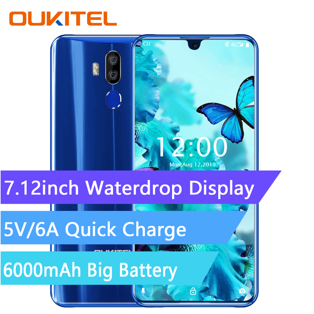 OUKITEL K9 4G Smartphone 7.12 pouces Android 9.0 MTK 6757 Octa Core 2.3GHz 4GB RAM 64GB ROM 16.0MP empreinte digitale 6000mAh Mobile